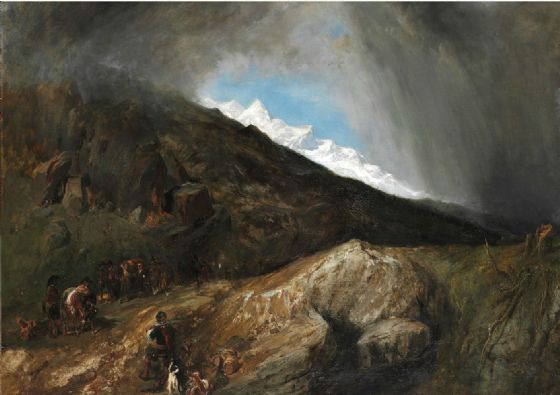 Stanfield, (William) Clarkson Frederick: Mountainous Landscape with a Hunter and Travellers. Fine Art Print/Poster. Sizes: A4/A3/A2/A1 (003473)
